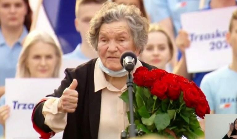 """Mocny apel Wandy Traczyk-Stawskiej, uczestniczki Powstania Warszawskiego: """"Stańcie do głosowania"""", """"jesteśmy ludźmi, którzy są godnymi szacunku"""""""