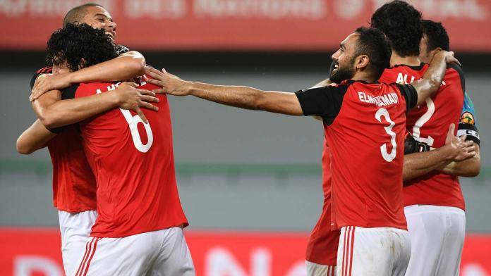 Egypt's players celebrate at the end of the 2017 Africa Cup of Nations quarter-final football match between Egypt and Morocco in Port-Gentil on January 29, 2017.  Justin TALLIS / AFP