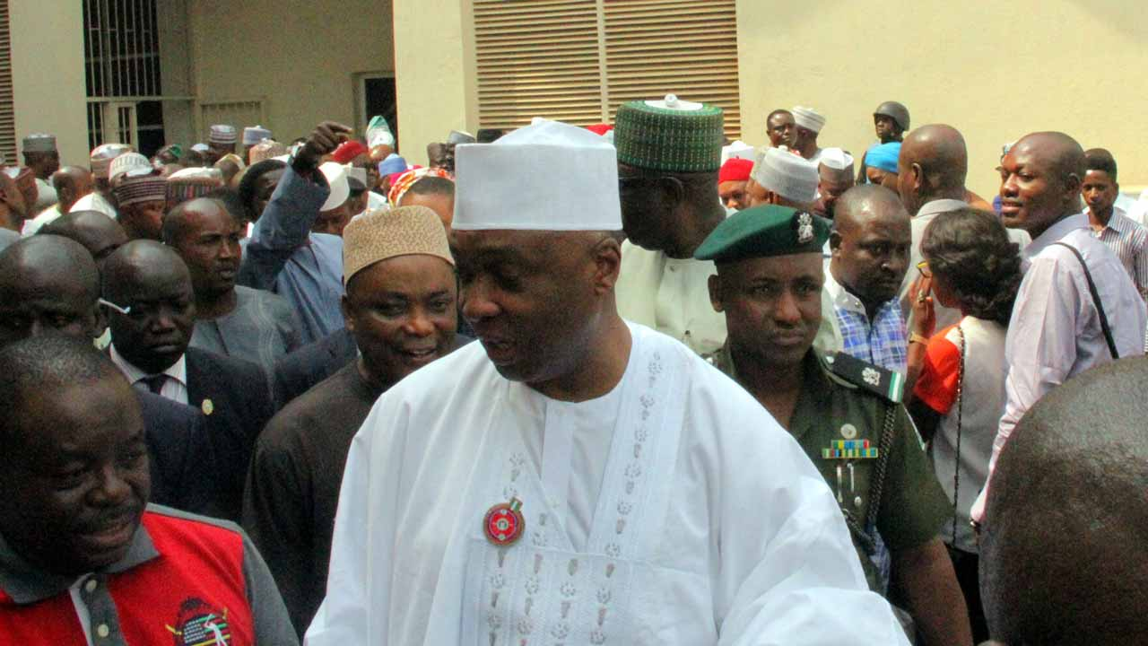 Senate President Bukola Saraki at the Code of Conduct Tribunal (CCT) at the resumption of his trial in Abuja on Wednesday, January 23, 2017. PHOTO: LUCY LADIDI ELUKPO