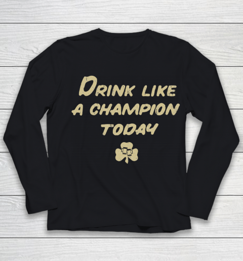 Beer Lover Funny Shirt Drink Like a Champion  South Bend Style Dark Blue Youth Long Sleeve