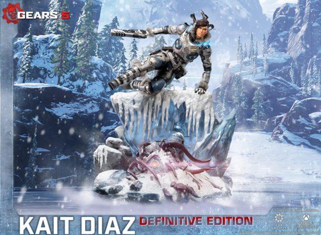 Las primeras 4 figuras de la estatua de la edición definitiva que representan a Kait Díaz, que incluyen LED de armadura, saltan sobre un acantilado de hielo y destruyen el rechazo.