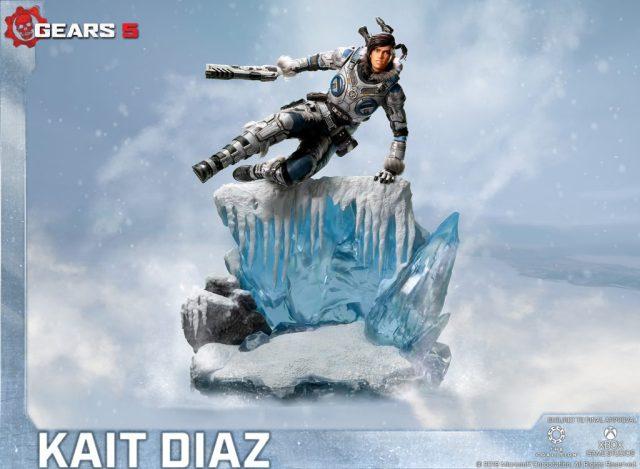 Las primeras 4 figuras de la estatua de la edición estándar que representan a Kait Díaz saltando sobre un acantilado de hielo.