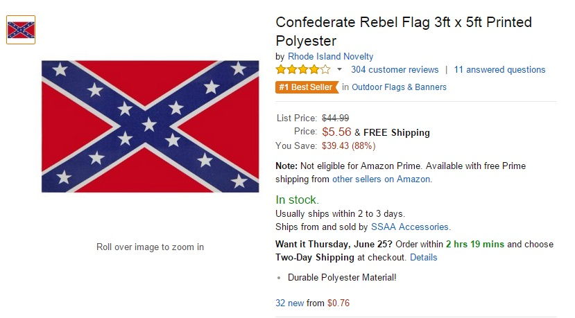 amazon bans confederate flag products