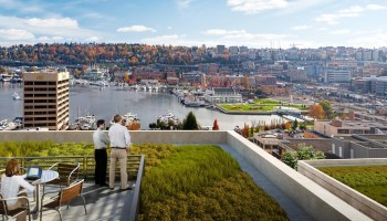 Sneak Peek: Facebook plans epic rooftop park, with walking trails and giant fire pit, at new Seattle office