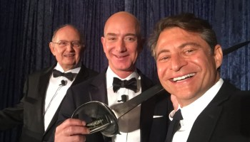 Selfie with Jeff Bezos and sword