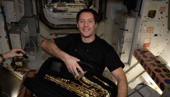 Thomas Pesquet with sax