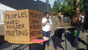 Multiple protest groups gather at Amazon's annual meeting in Seattle