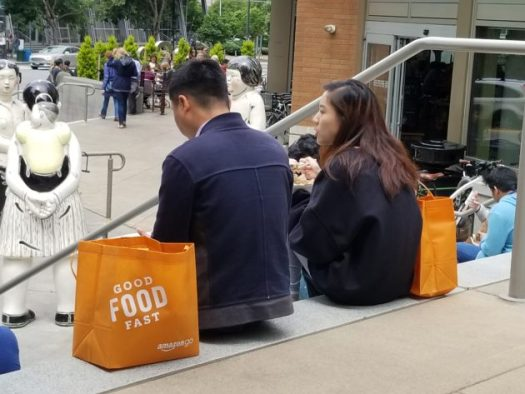Lunchtime at Whole Foods in Seattle's South Lake Union neighborhood. (GeekWire photo / Brian M. Westbrook)