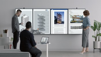 Microsoft unveils next generation Surface Hub, with the ability to 'tile' up to four giant screens together