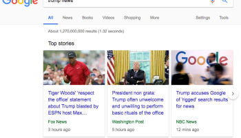 President Trump wakes up, Googles himself and threatens to look into search giant's 'rigged' results