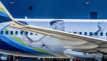 Watch: Seahawks quarterback Russell Wilson airs it out as Alaska Airlines puts his face on a plane
