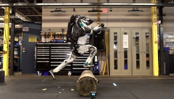 When we eventually run from the robots, we better be able to do parkour like this one can now