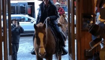 Buckaroo Bezos: Amazon CEO looks giddy as he rides horse into Western store in Colorado
