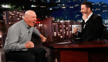 Steve Ballmer gets pumped, as usual, about the NBA, government data and more on 'Kimmel'