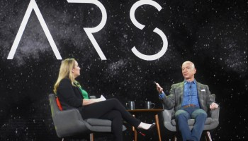 Jeff Bezos explains Amazon's bet on Project Kuiper satellites — and copes with an onstage protest
