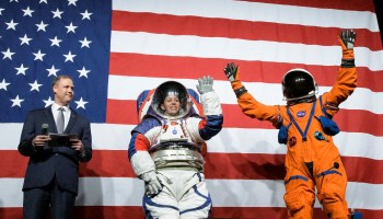 NASA unveils spacesuits for moon missions, featuring red, white and blue
