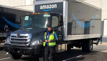 By land and by air, Amazon delivery hardware takes on a new look in truck and plane photos