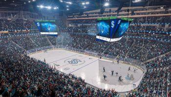 """在游戏中的西雅图海怪,作为EA体育的""""NHL 22""""功能新的冰球队和新的竞技场"""