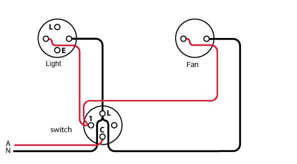 change bathroom switch to separate light and fan