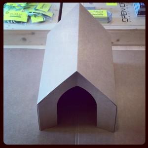Paolo Ulian, cardboard foldable dog den for Corraini Prima Produzione @ Libreria 121+ Zona Tortona
