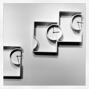 The most surprising - Nendo's bathroom for Bisazza Bagno (here, the endless clocks-shelves) @ Design Village, via Savona