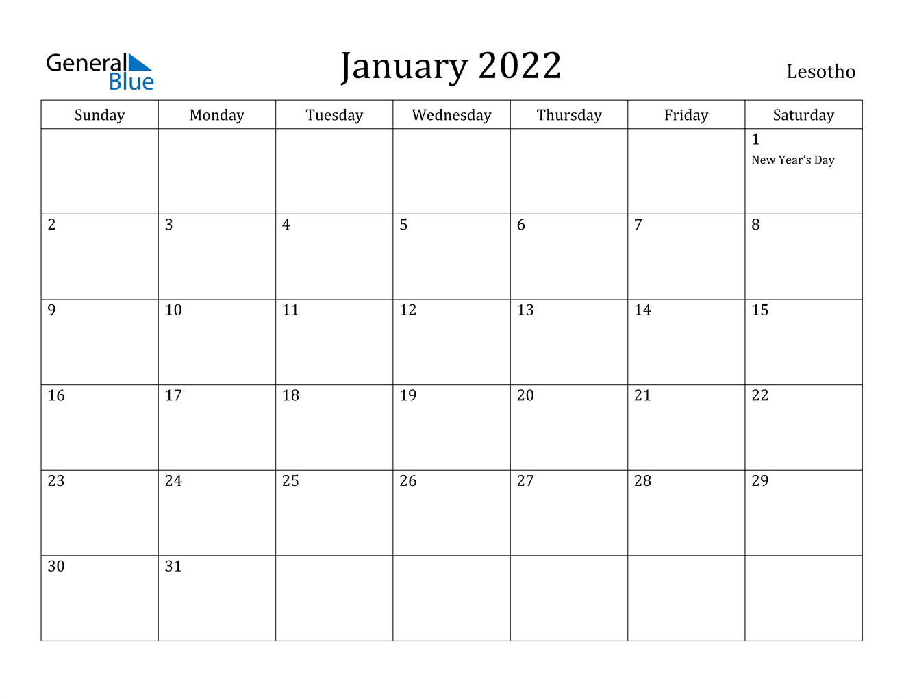 This january calendar is available in word format (.docx) then you can easy to edit before printing. January 2022 Calendar - Lesotho