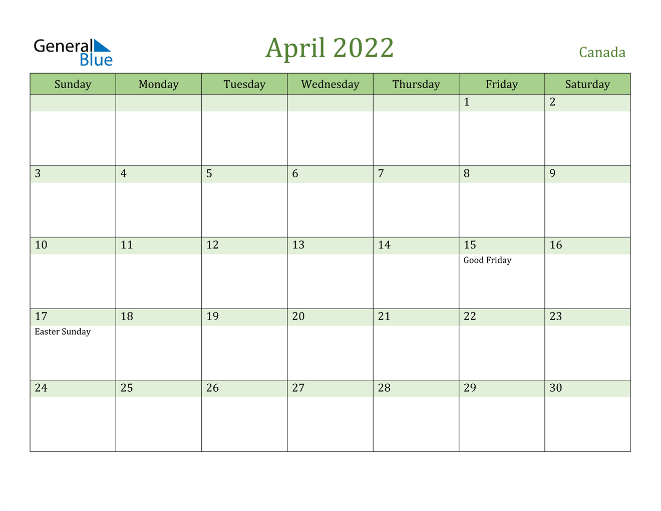 Get fast, free shipping with amazon prime. April 2022 Calendar - Canada
