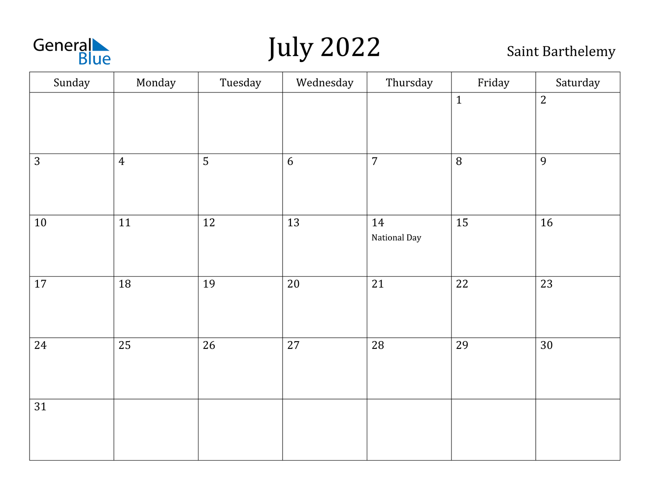 It is useful for quick referencing on dates, write down quick notes founder of lifehack read full profile sometimes it is handy to have a calendar for you. July 2022 Calendar - Saint Barthelemy