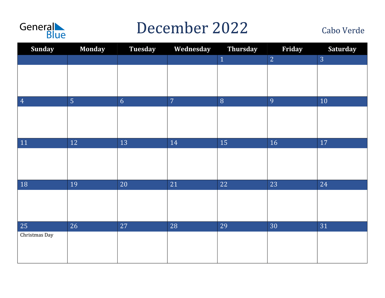 This december 2022 calendar can be printed on an a4 size paper. December 2022 Calendar - Cabo Verde