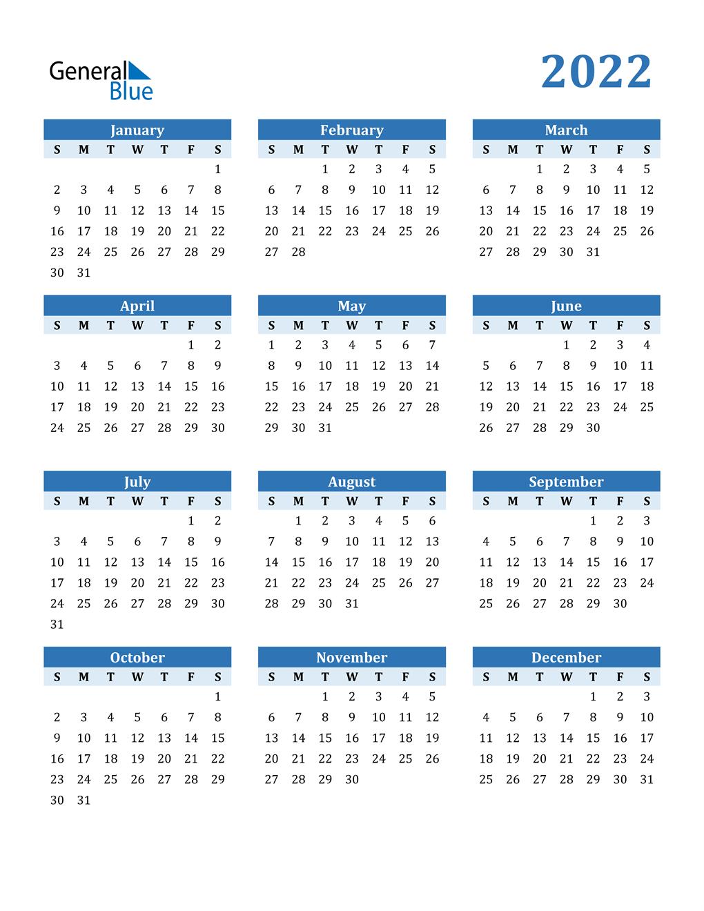 A calendar year and a fiscal year. 2022 Calendar (PDF, Word, Excel)