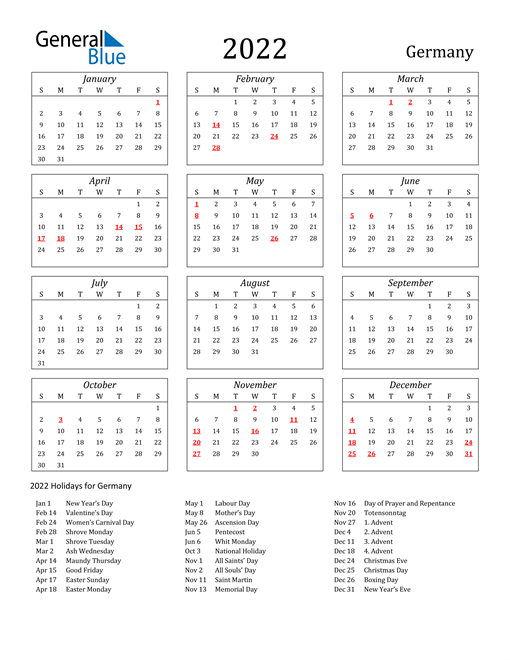 Ample spacing is provided to help you in marking your activities. 2022 Germany Calendar with Holidays