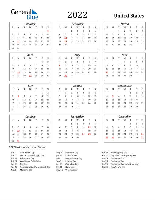 If you have any questions regarding these events, please contact us. 2022 United States Calendar with Holidays