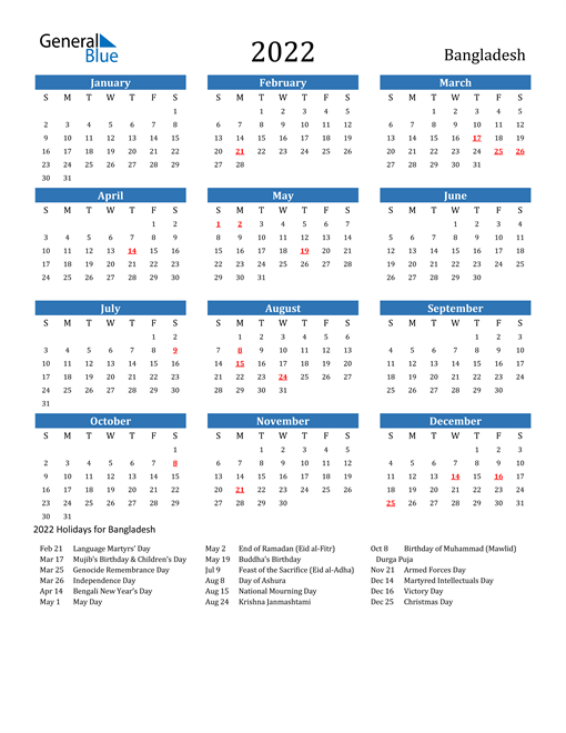 The year calendar is also editable, enabling you to change color, fonts, designs, or background color according to your preference. 2022 Bangladesh Calendar with Holidays