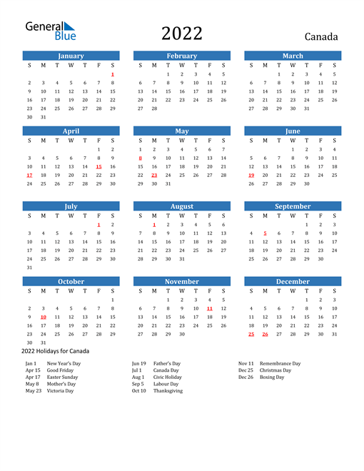 This calendar is designed with months being highlighted in a light blue color, giving it a calming effect and easier visibility of the calendar months. 2022 Canada Calendar with Holidays