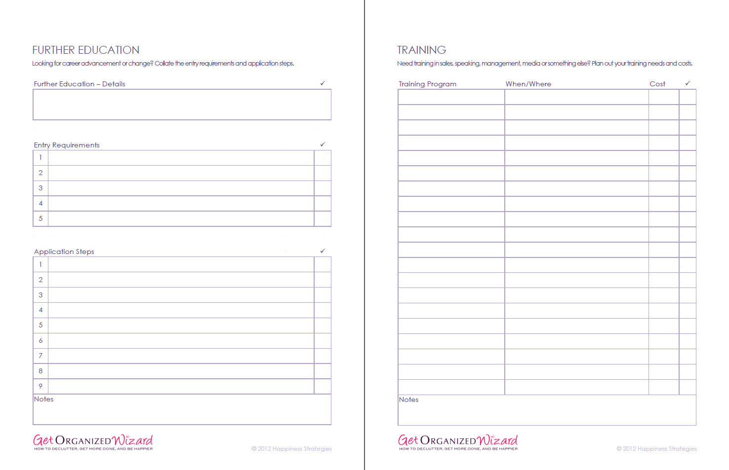 Life Management Worksheets