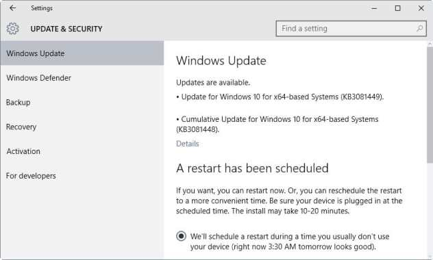 windows updates kb3081448 3081449