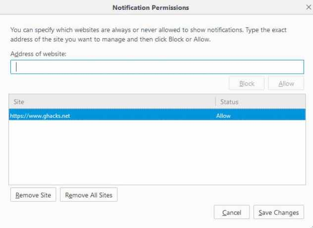 notification permissions