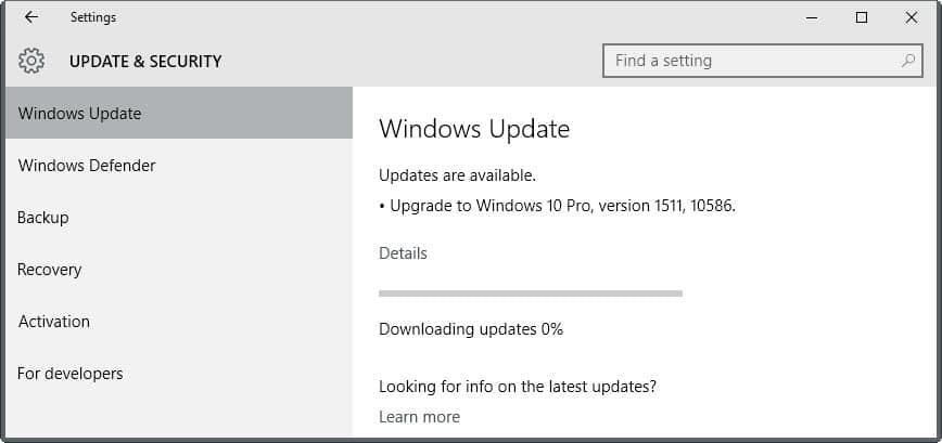Cara Perbaiki update Windows 10 version 1511 tidak muncul