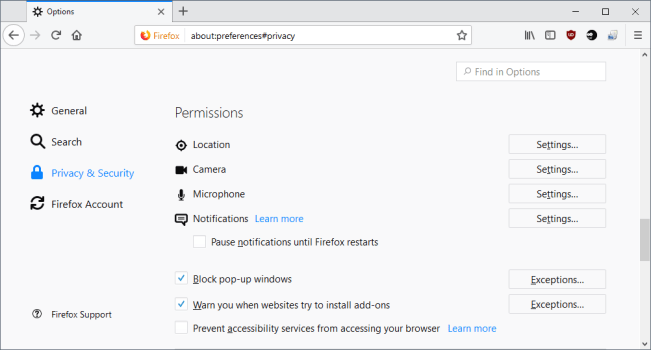 firefox permissions privacy