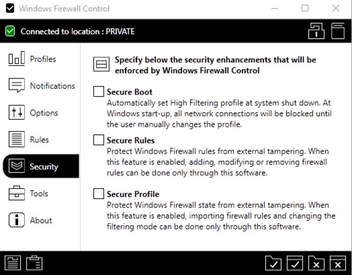 брандмауэр Windows защищает профиль правил безопасности