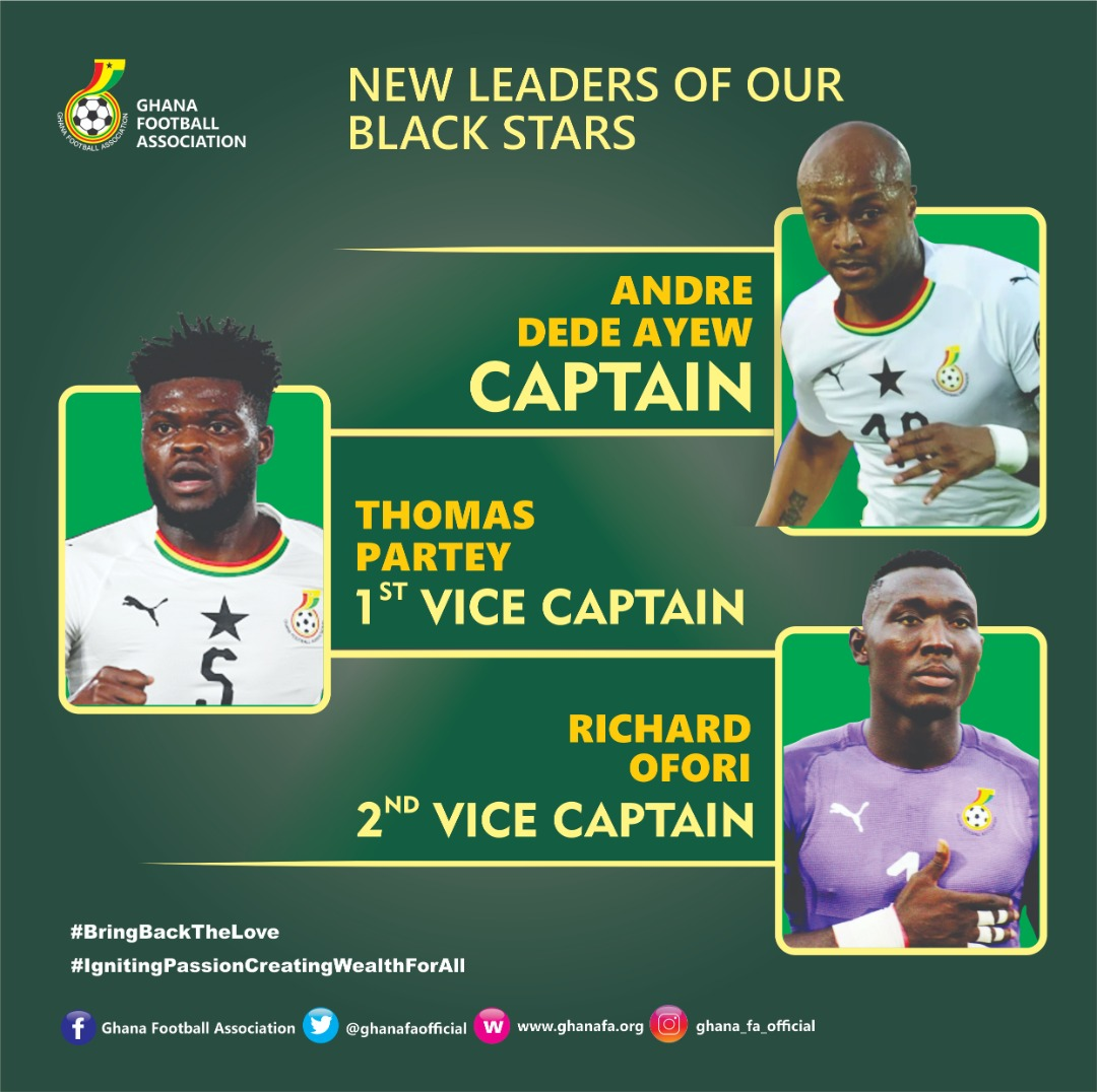 Andre Ayew maintains Black Stars captaincy, Partey, Ofori to assist him