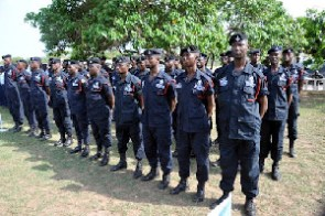 File photo of police officers on parade