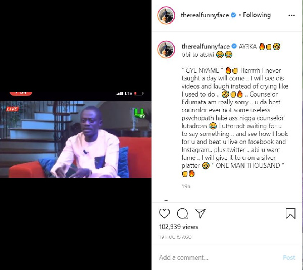 Funny Face threatens to beat Counsellor Lutterodt 1