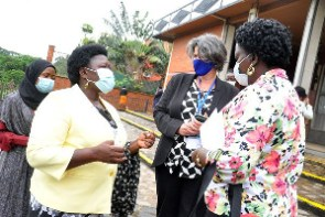 Minister of State for Primary Health Care, Joyce Moriku Kaducu (left)