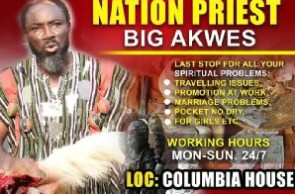 Kumawood actor, Big Akwes spotted as a fetish priest on a flyer that has gone viral on social media
