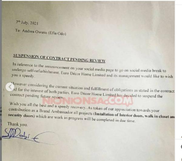 Euro Décor Suspends Brand Ambassadorial Deal With Efia Odo