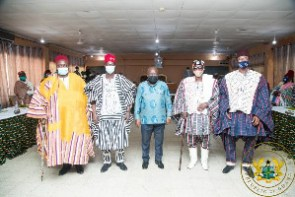 Akufo-Addo with the outgoing and incoming leadership of the Upper East Regional House of Chiefs