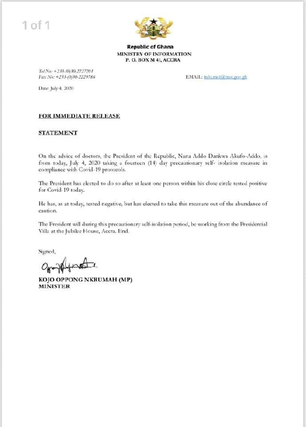Breaking: President Akufo-Addo goes into isolation after exposure to person with coronavirus 1