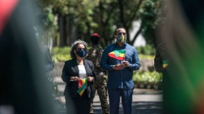 Ethiopia's President Sahle-Work Zewde and Prime Minister Abiy Ahmed during an event