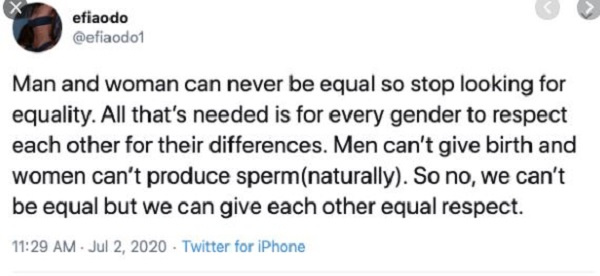 82690112 Stop fighting for equality, men and women can never be equal – Efia Odo to Feminists
